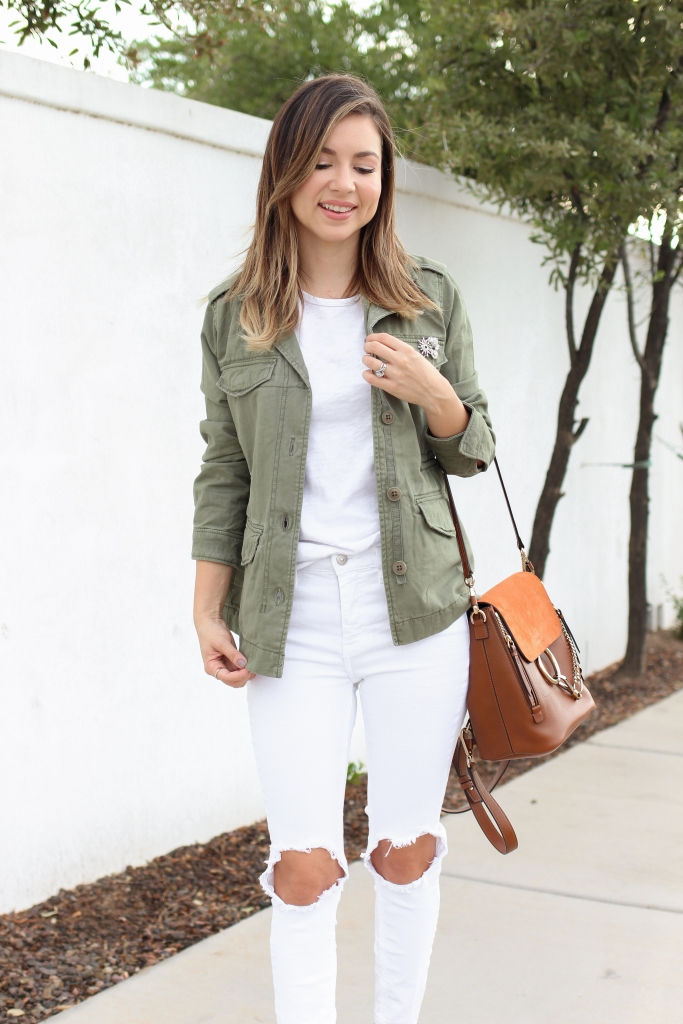 olive green jacket - fall jacket outfit - casual fall outfit - fall white jeans - utility jacket
