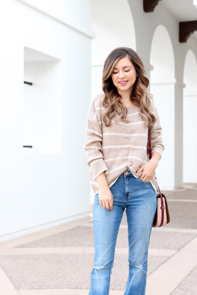 distressed sweater - stripe sweater outfit - jeans and sweater - best fall outfits