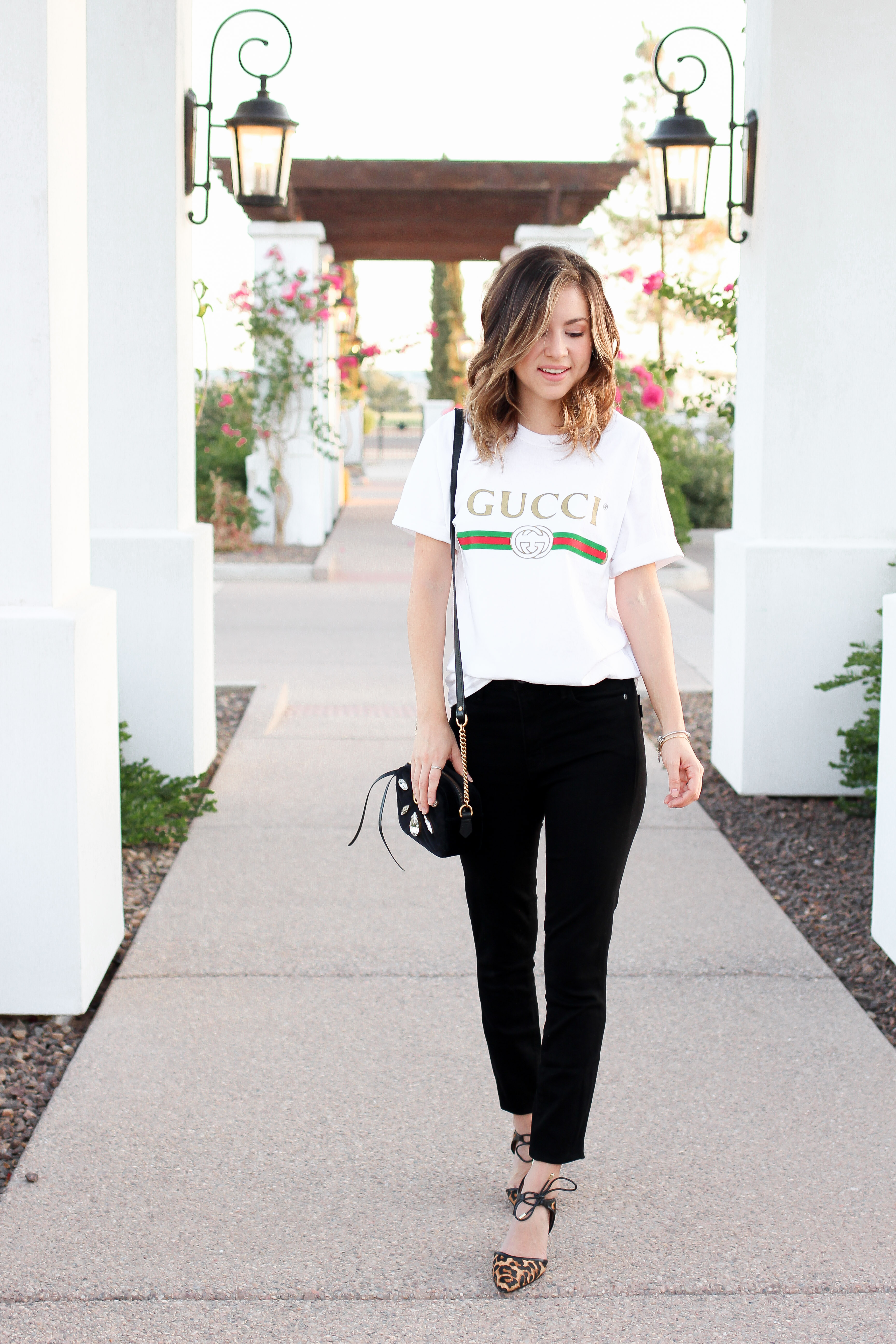 38cb0eed4 Simply Sutter – simply sutter – gucci top – oversized tee – gucci bag –  leopard heels_7040