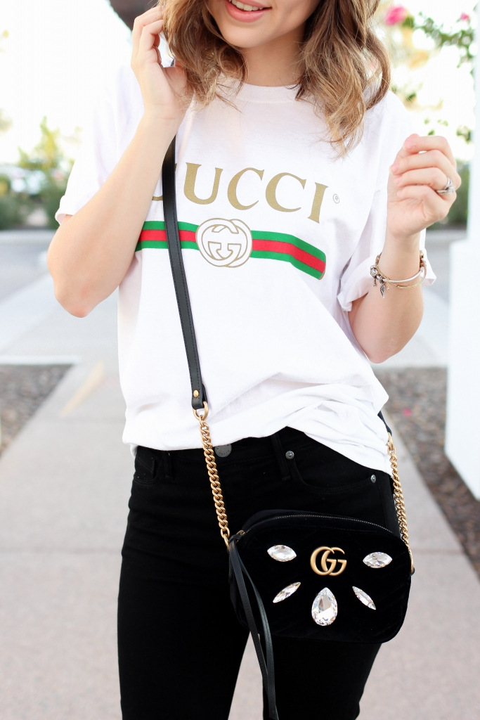 Gucci crossbody - gucci shirt - gucci outfit - simply sutter - tee outfit