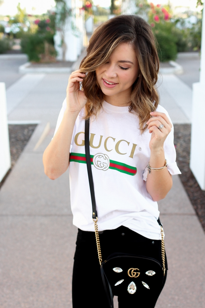 oversized tee - gucci tee - how to style - casual outfit - simply sutter