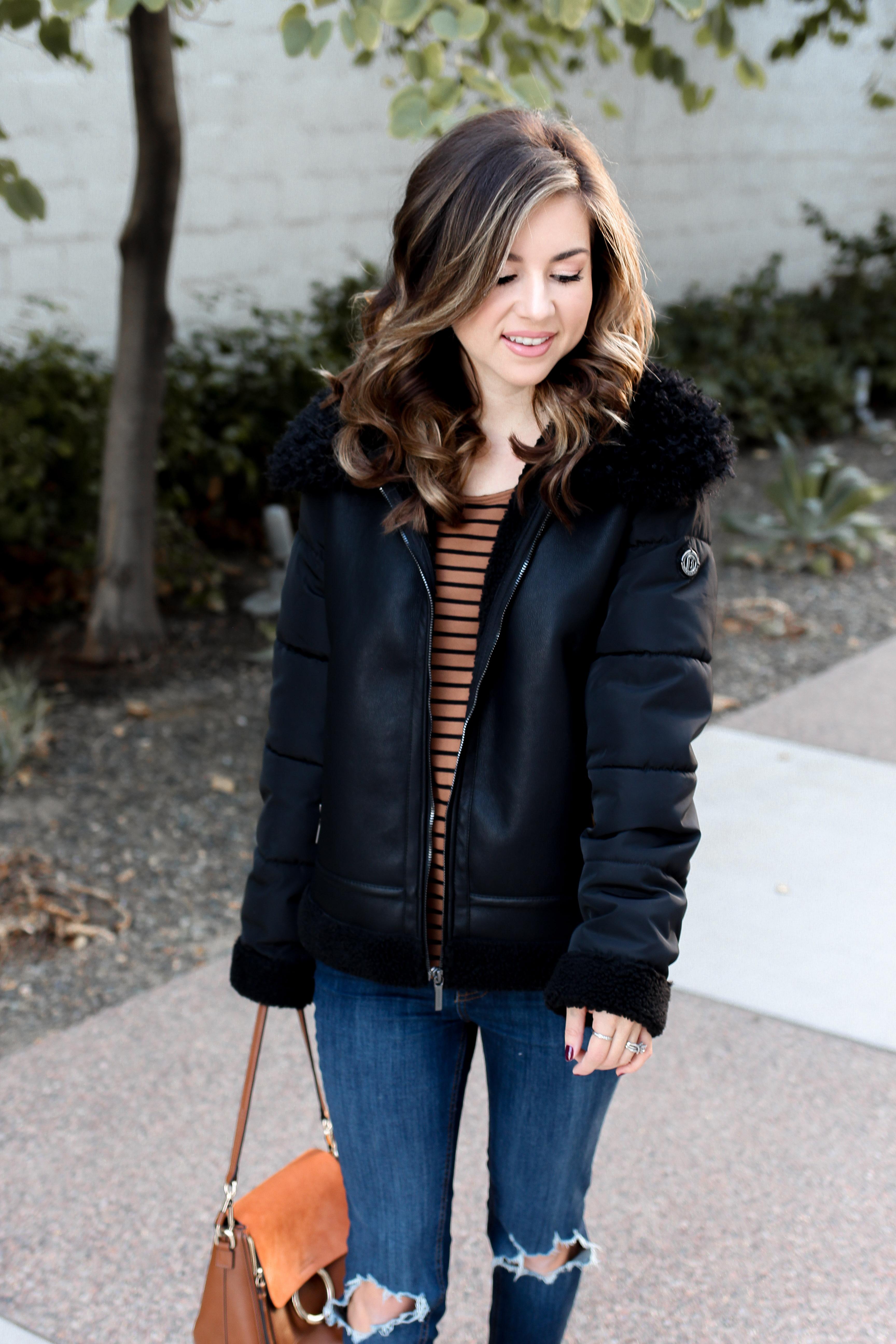 shearling jacket - bernardo - faux shearling - shearling outfit - casual outfits for fall