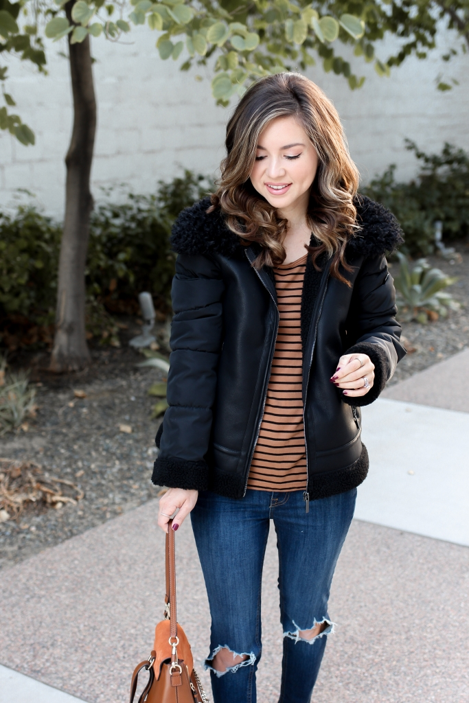 shearling jacket - fall outfit - best jacket - bernardo - black jacket outfit