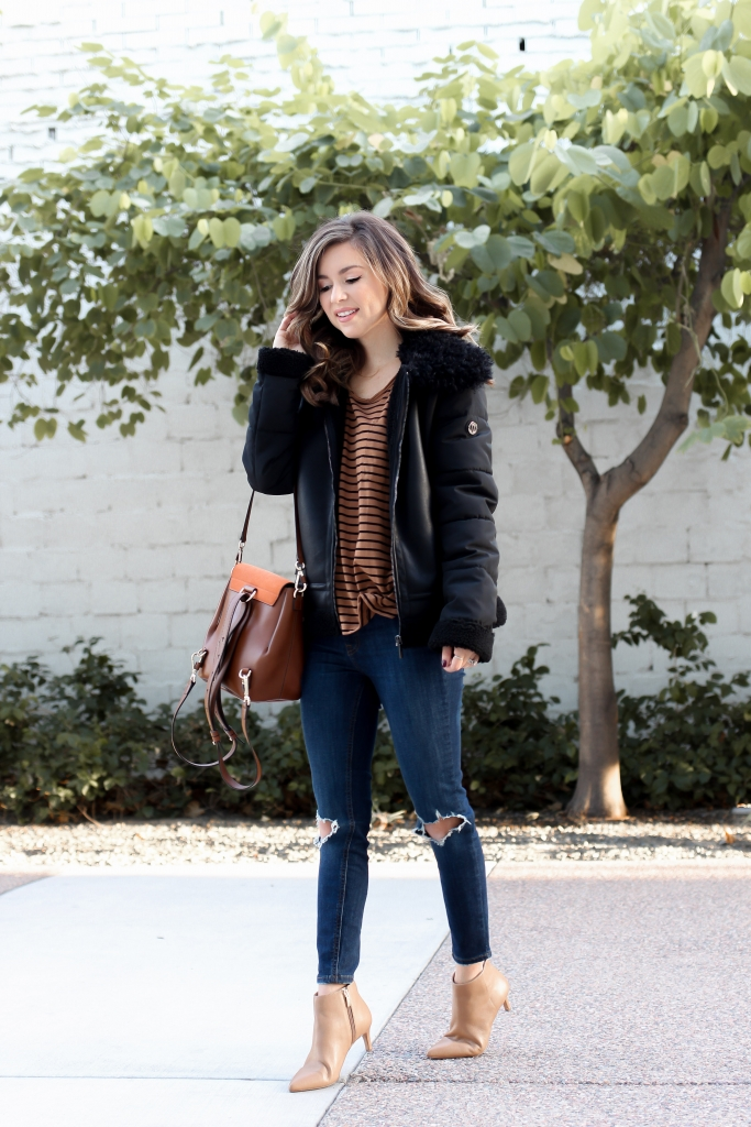 shearling jacket - bernardo - faux shearling - shearling outfit - casual outfits for fall