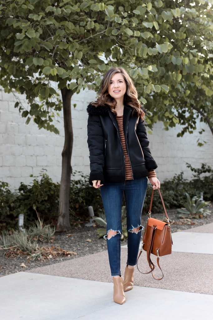 simply sutter - bernardo - shearling jacket - black shearling jacket - black and brown outfit