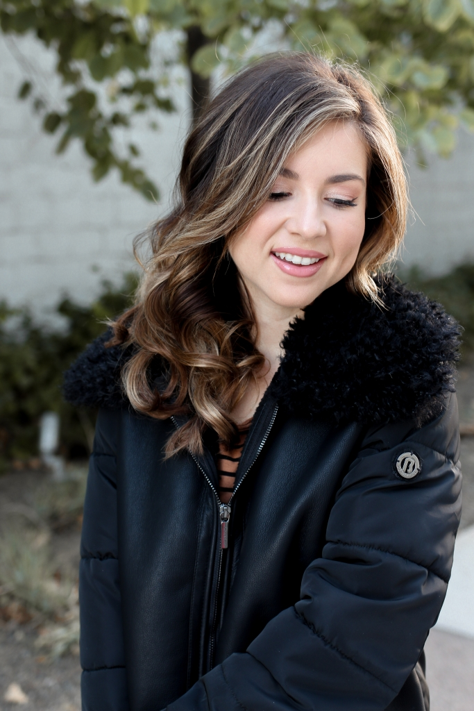 faux shearling jacket - shearling jacket outfit - winter outfit - simply sutter