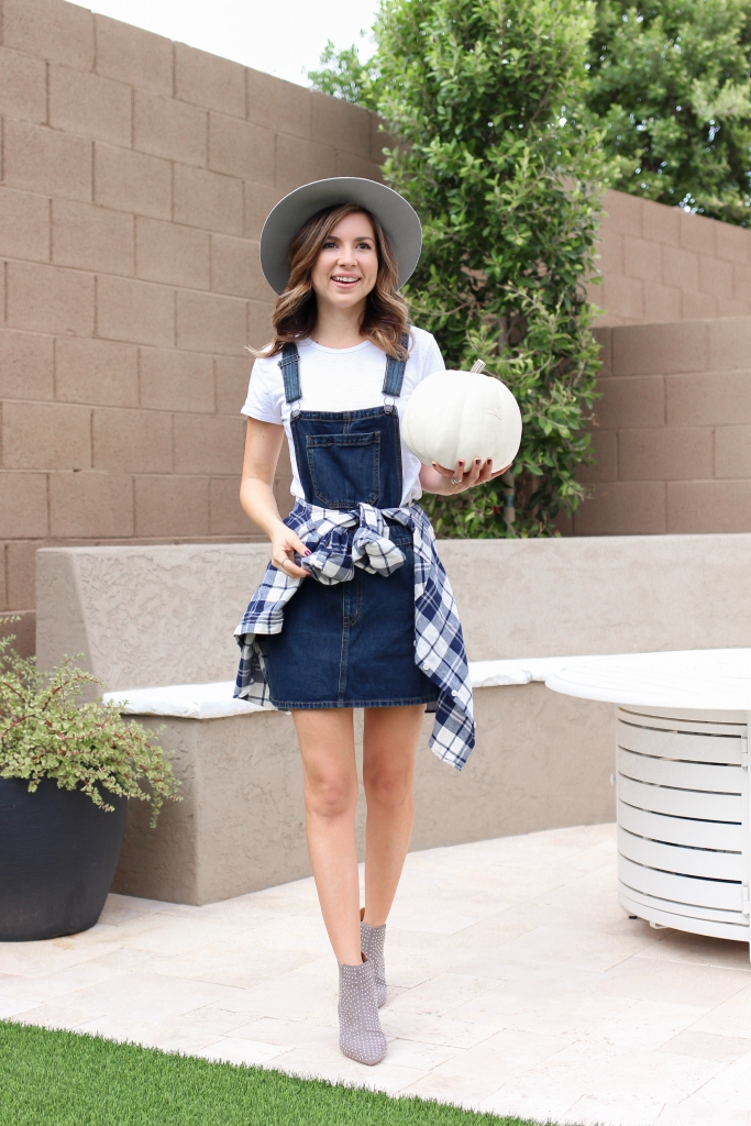 simply sutter - overall dress - how to wear overall dress - best fall outfit - boot outfit - grey hat