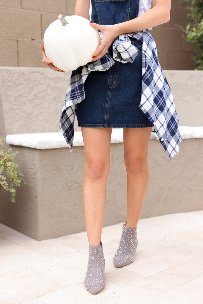 simply sutter - overall dress - how to wear overall dress - best fall outfit - boot outfit - stud boots