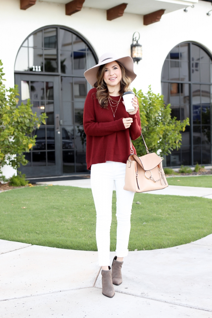 cozy fall outfit - cross back sweater - madewell sweater - fall outfit with white jeans - simply sutter