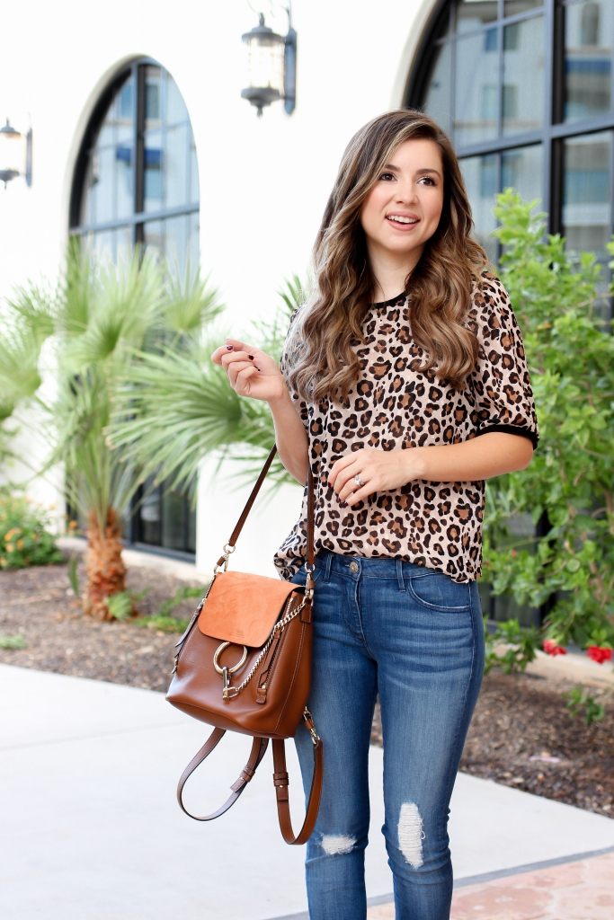 how to wear the leopard trend - affordable leopard top - casual leopard outfit for fall - best casual outfits - denim style - simply sutter