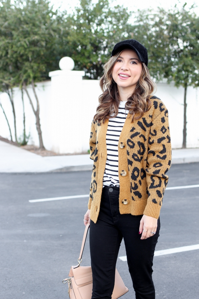 how to wear leopard - best leopard outfits - casual chic outfit - leopard cardigan - simply sutter