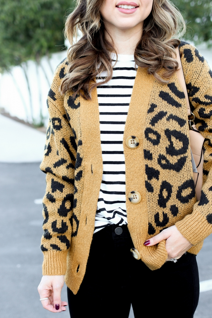 leopard and stripes - best fall outfits - velvet hat - casual chic style