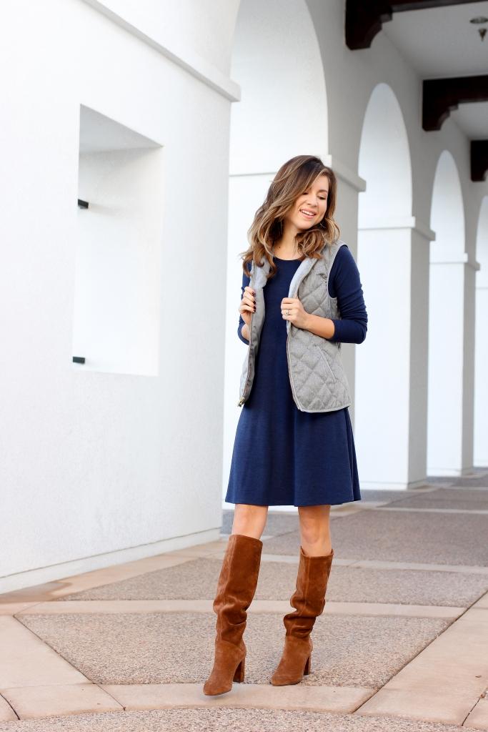 2 quick ways to layer a dress for fall - fall dress - casual fall dress - swing dress
