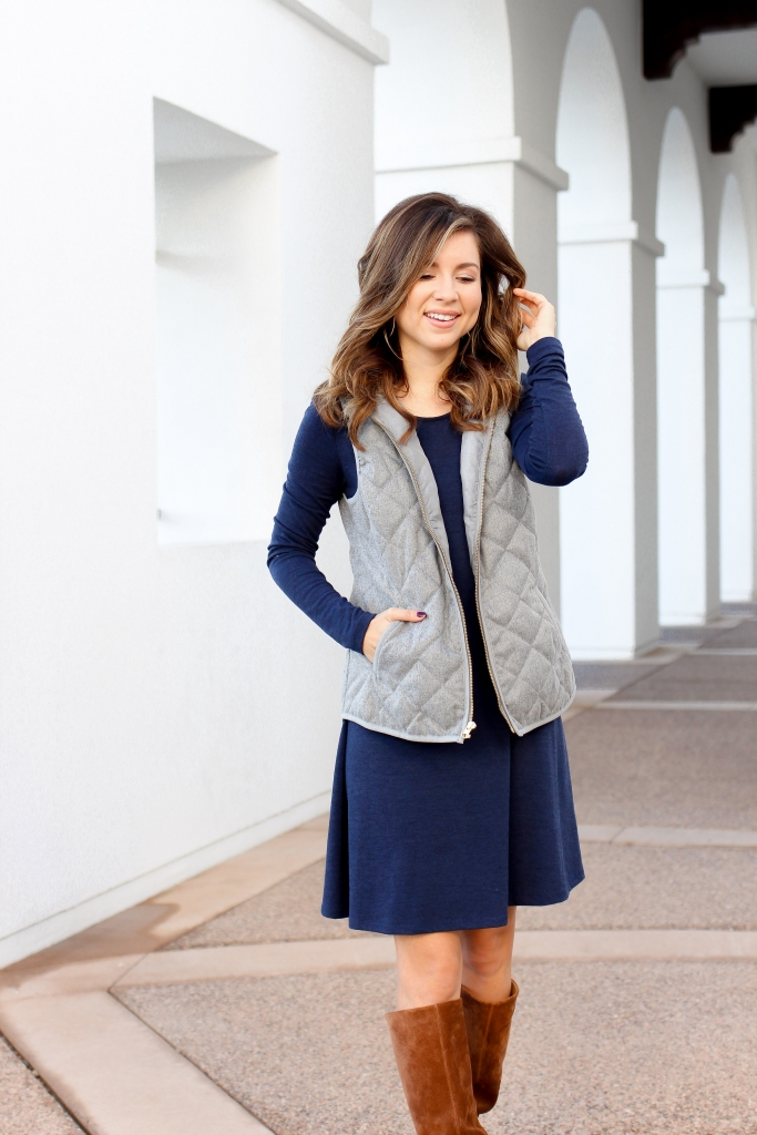 2 ways to layer a dress - layer a dress for fall - how to layer your dress for fall - dress and vest