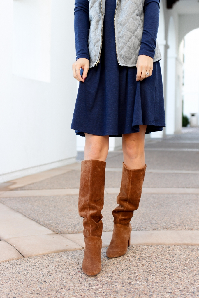 2 quick ways to layer a dress for fall - fall dress - casual fall dress - swing dress and boots - vest and boots