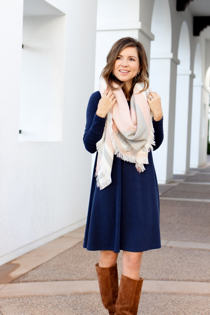 simply sutter - plaid scarf and dress - layer a dress for fall