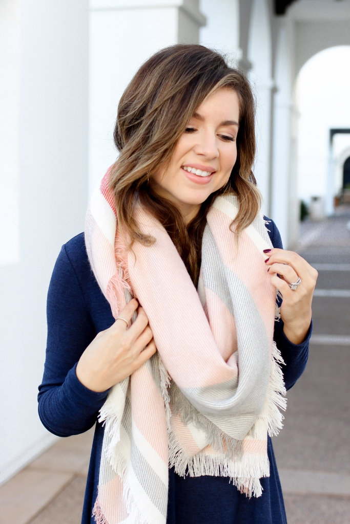 quick way to layer a dress for fall - scarf and dress - chic scarf - casual fall dress