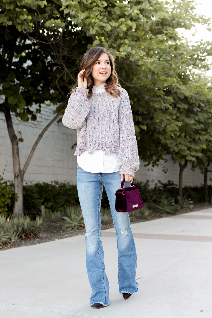 crop sweater - how to wear crop sweater - how to wear flare jeans - flare jeans outfit