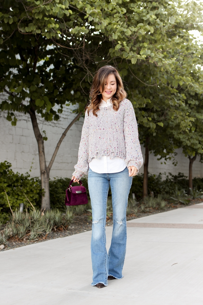 how to wear a crop sweater - simply sutter - flare jeans and crop sweater - casual fall outfit
