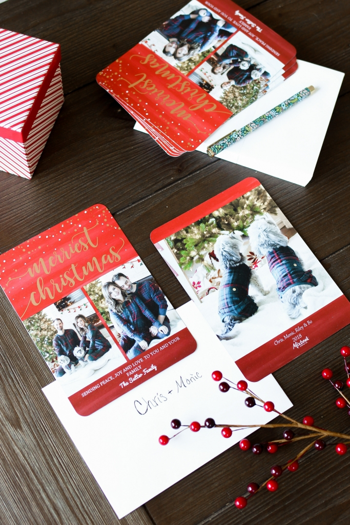 brunette lifestyle blogger sharing how to get 50% off holiday cards