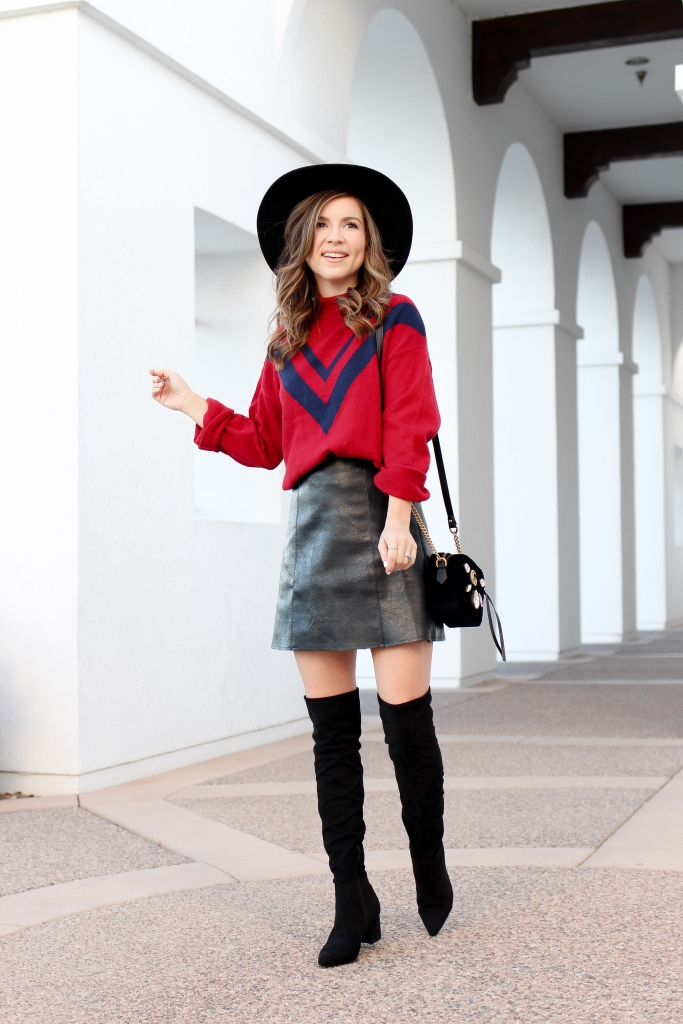 how to wear over the knee boots - faux leather skirt outfit - red sweater - holiday outfit - black boots