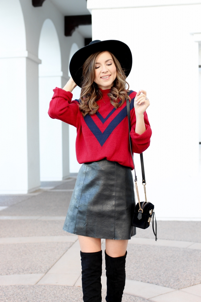 over the knee boots - how to wear over the knee boots - red sweater - simply sutter