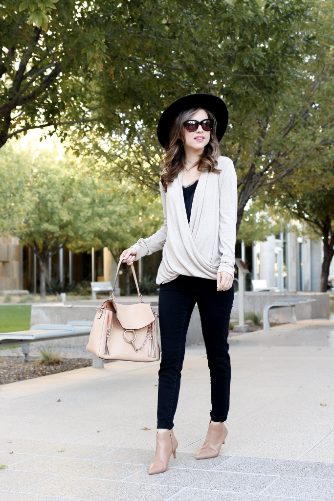 simply sutter - style - wrap sweater outfit - casual fall outfit
