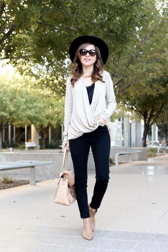 simply sutter - black jeans outfits - casual outfits - wraps sweater