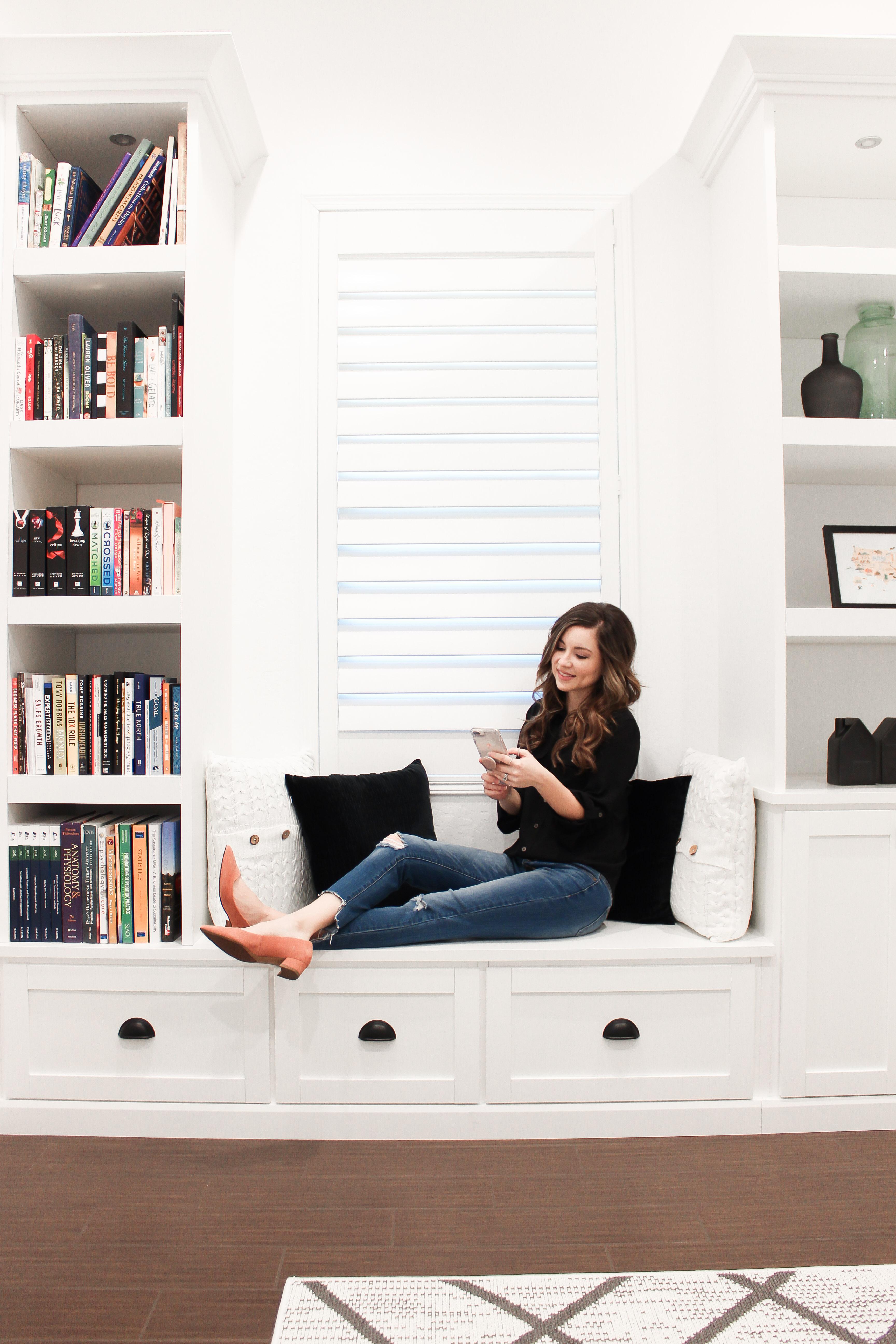 white built in reading nook inside office