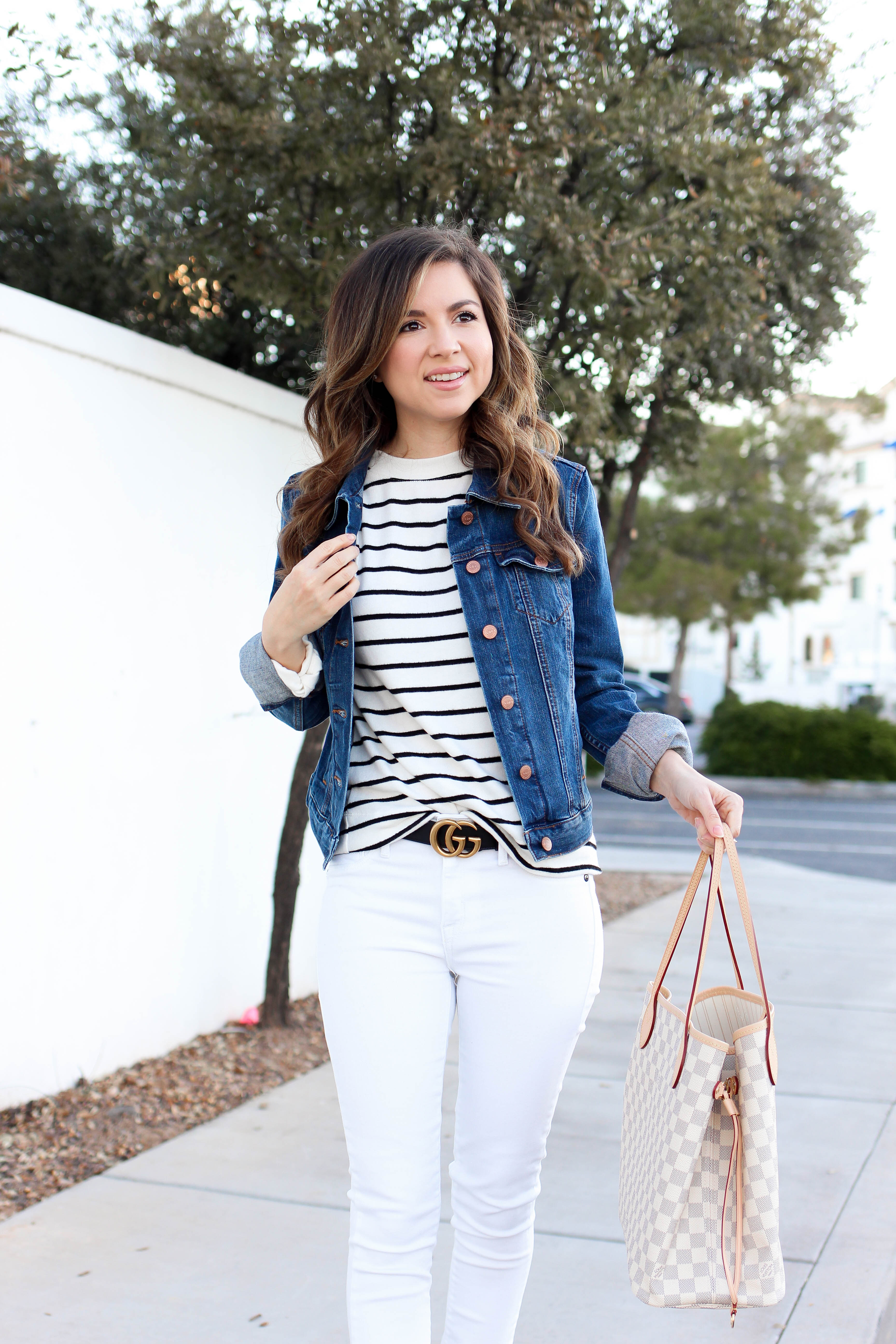 casual denim jacket outfit with white jeans