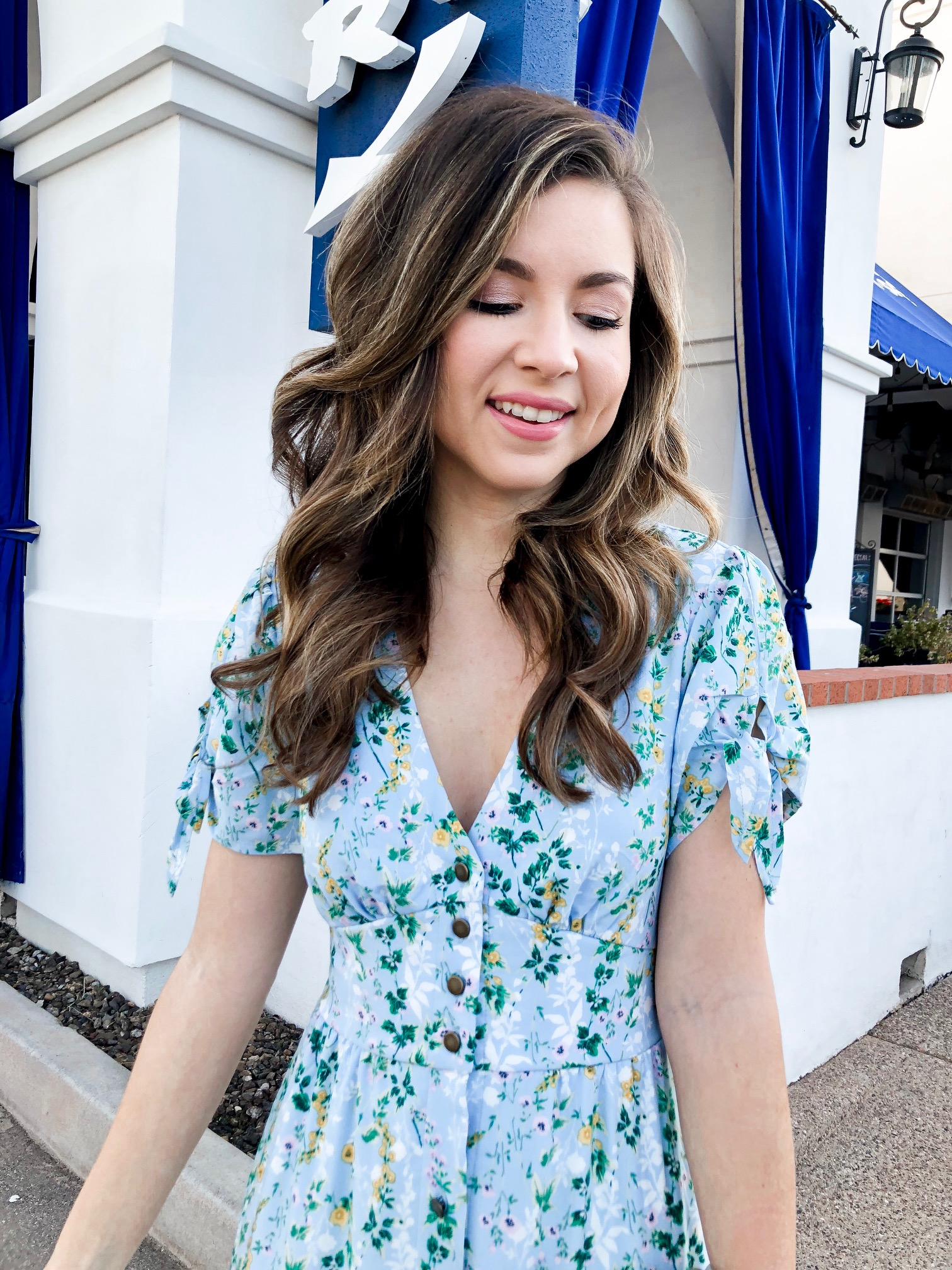 a valentines day outfit featuring a blue floral midi dress