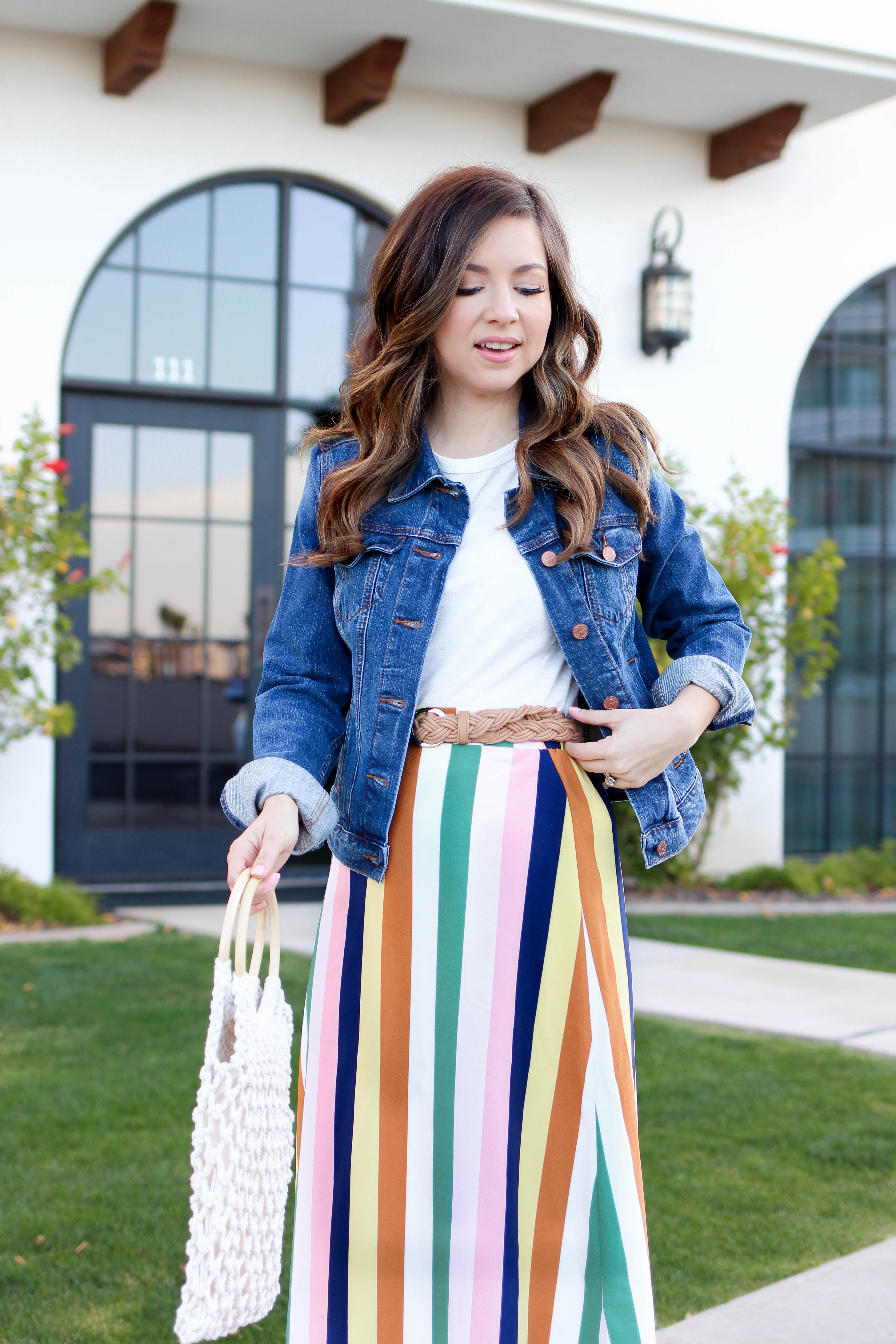 Multi color striped skirt