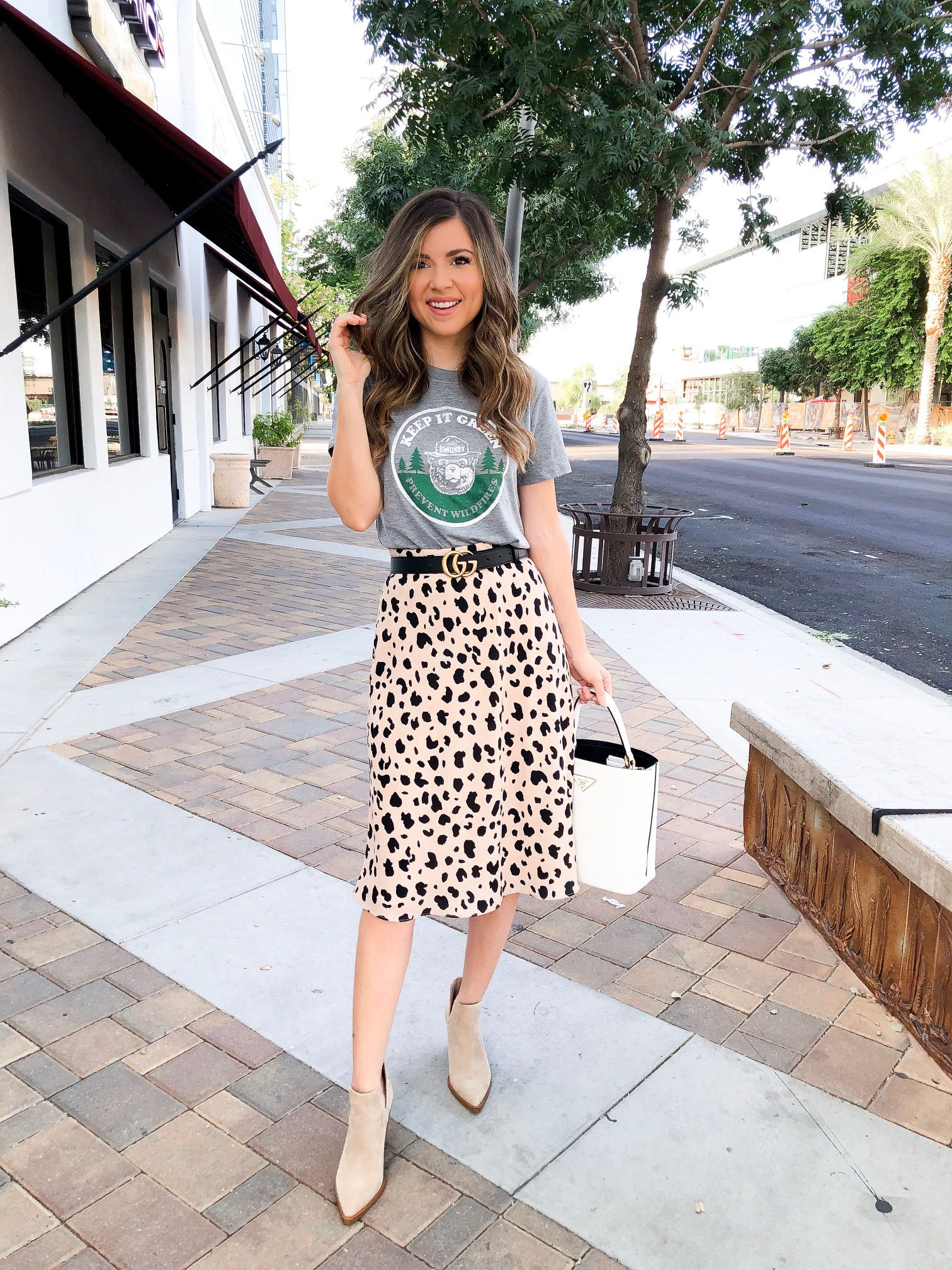 Leopard Satin Skirt Outfit